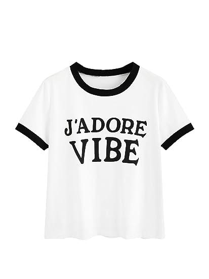 MakeMeChic Womens Color Block Letter Print Ringer Tee Shirt at