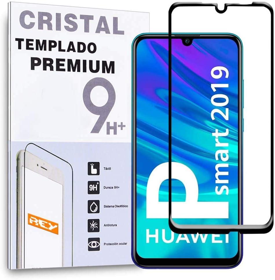 REY Protector de Pantalla 3D para Huawei P Smart 2019 - Huawei P Smart Plus 2019, Negro, Protección Completa, 3D / 4D / 5D