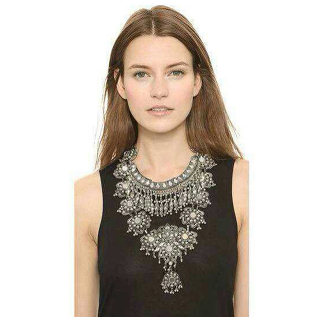 Statement Necklace for Women - Fashion Silver Long Bohemian Indian Jewelry Oxidized Chunky Necklace for Women Big Bib Ethnic Costume Jewelry