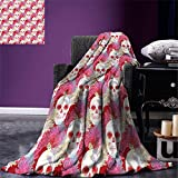 smallbeefly Coral Digital Printing Blanket Double Exposured Graphic Mexican Skull Bones and Exotic Creepy Dead Icon with Plants Summer Quilt Comforter Multicolor