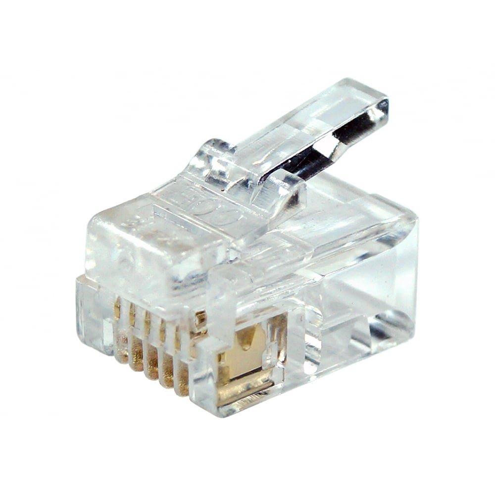 Gold-plated 50pcs RJ12 RJ11 6P6C Modular Plug DSL Telephone Connector