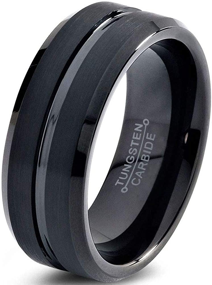 Charming Jewelers Tungsten Wedding Band Ring 8mm Men Women Comfort Fit Grey Black 18K Yellow Gold Plated Bevel Edge Brushed Polished