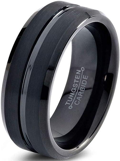 Mahogany Wood Ring Mens Wedding Band Tungsten Carbide 8mm Engagement Band Man Mahogany Wood Wedding Band Hunter Ring Minimalist Polished