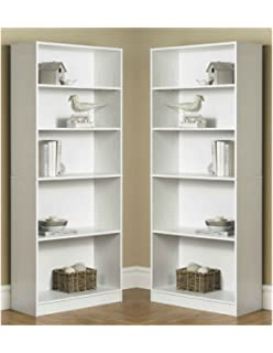 Mainstay` Pack Of 2 Orion Wide 5 Shelf Bookcase White