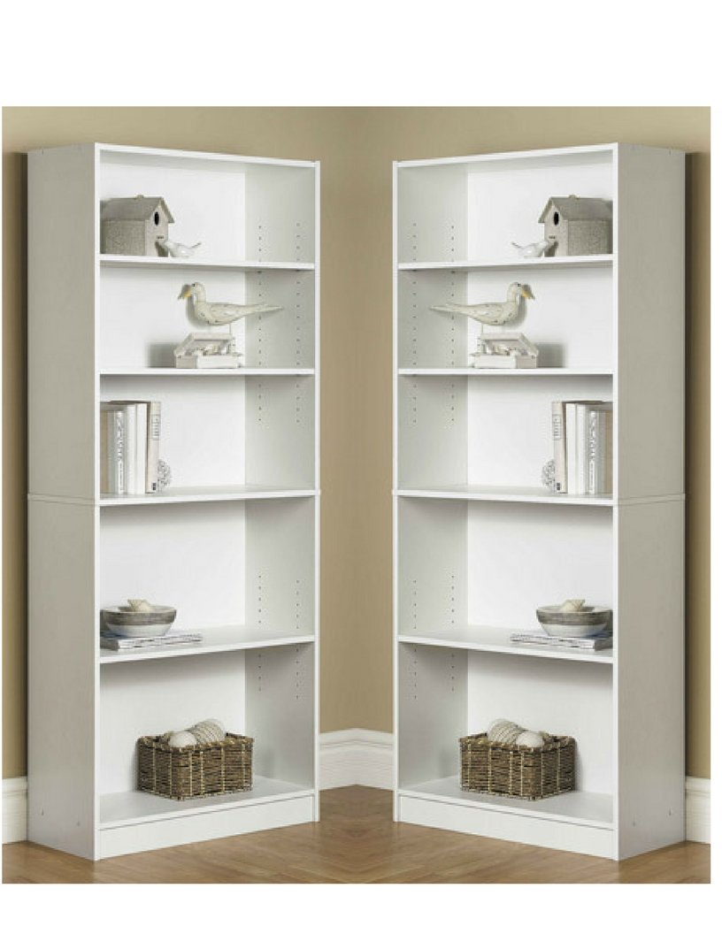 Mainstay` Pack of 2 Orion Wide 5-Shelf Bookcase White by Mainstay