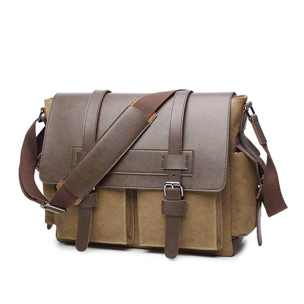 DQMSB Canvas with Leather Shoulder Bag Solid Color Mens Diagonal Bag Computer Bag Briefcase