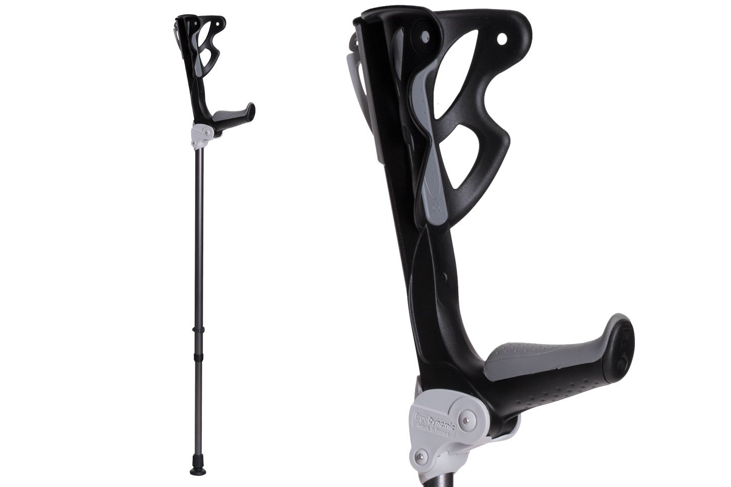 Ergodynamic Forearm Crutches By FDI (Size: 4'7-6'8) 1 Pair/2 Crutches / Black / Lightest Crutch with an Integrated Shock Absorber (M (132-198lbs) spring rate)