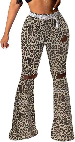 Memories Love Womens Wide Leg Ripped High Waisted Leopard Print Bell Bottom Flare Pants