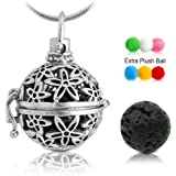 """Lava Stone Aromatherapy Essential Oil Diffuser Necklace Pendant/Locket Antique Silver with 24"""" Snake Chain and 6 Cashmere Sustained Release Ball"""