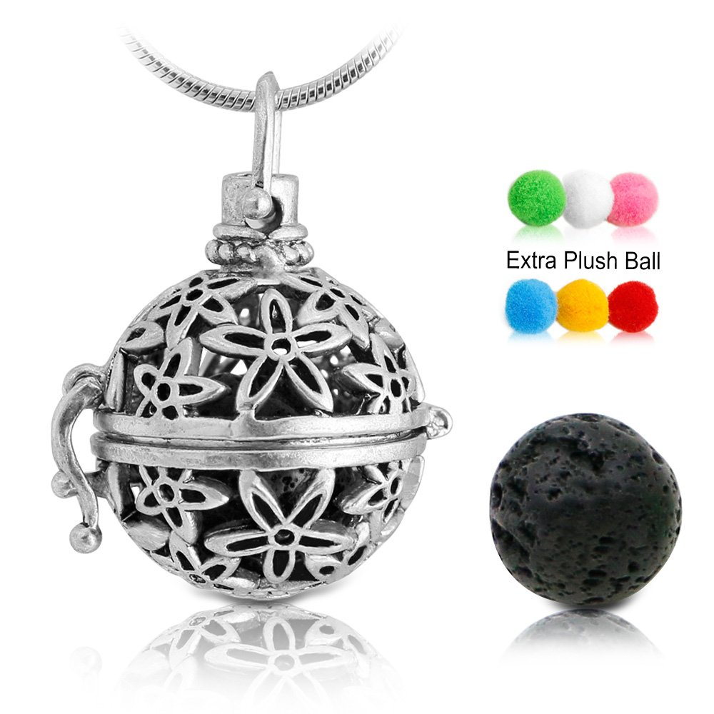 Amazon lava stone beads 14mm or 8mm for essential oil diffuser lava stone aromatherapy essential oil diffuser necklace pendantlocket antique silver with 24 snake aloadofball Gallery