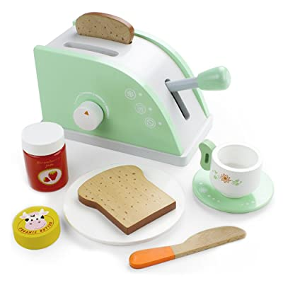 Imagination Generation Wood Eats! Pop-Up Toaster Playset with Butter, Jam, and Coffee Cup (10pcs): Toys & Games [5Bkhe2004215]