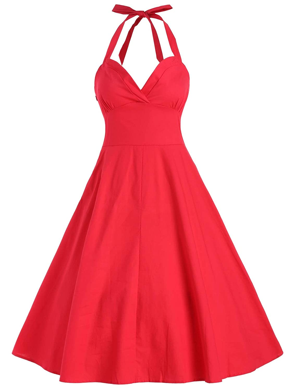 KCatsy Halter Vintage Flare Dress