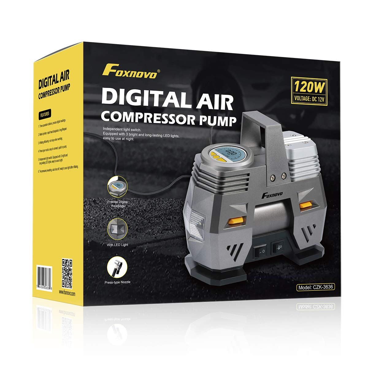 Foxnovo Air Compressor Pump, Digital Tire Inflator 150 PSI DC 12V Low Noise Tire Air Compressor Portable with Larger Air Flow 35L/Min, LED Light, Overheat Protection, Extra Nozzle Adaptors and Fuse by Foxnovo (Image #9)