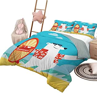 DayDayFun Quilt Set with Sheets Sea Animals for Boys and Girls Polar Bear with I Love Summer Surfboard Taking Selfie at Beach Comic Fun Art King Size Aqua Yellow