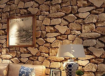 Lospu HY Vintage 3D Stereo Brick Wallpaper Rock Wallpaper Imitated Stonewall Restaurant Hotel Living Room Background Wallpaper