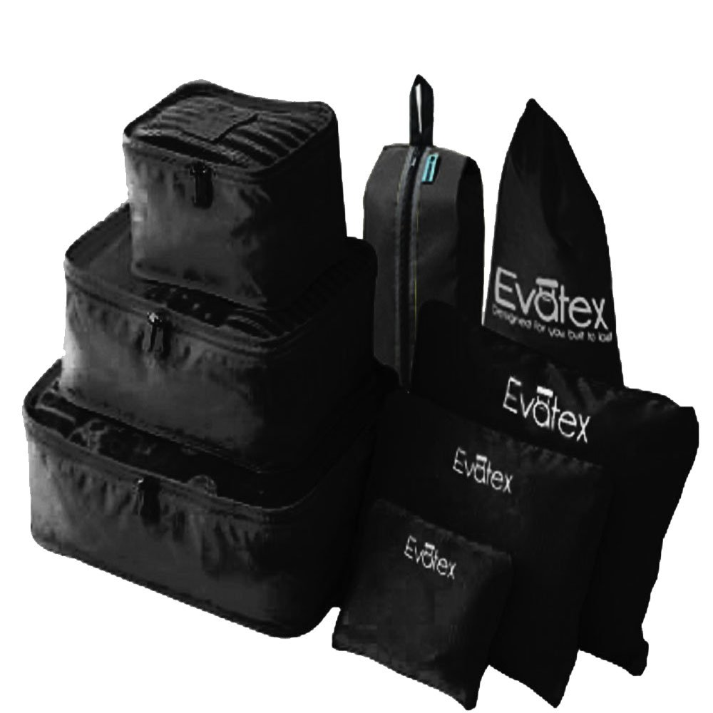 Evatex Packing Cubes - 8 Set Travel Packing Cubes, Waterproof, Shoe Bag, Cosmetics/Laundry Bag (Black)