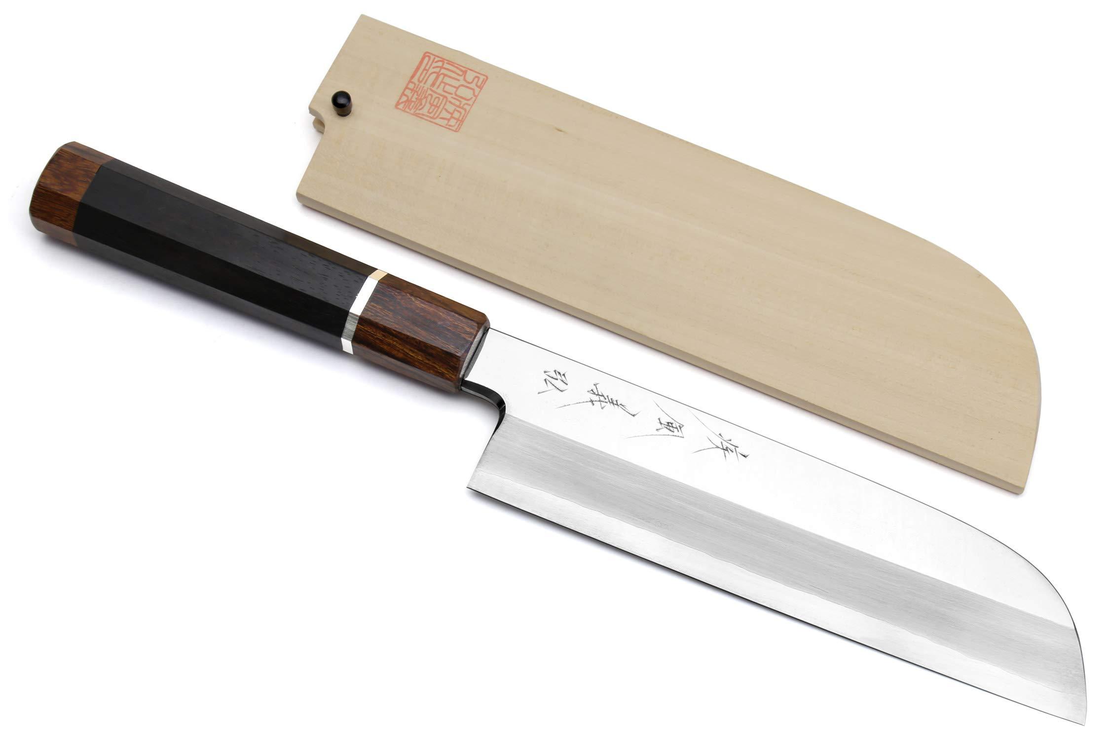 Yoshihiro Ginsanko Mirror Polished Stain Resistant Kama Usuba Traditional Japanese Vegetable Chopping Chef Knife Ebony Handle with Silver Ring (7.5'' (195mm))