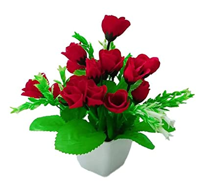 214 & FANTASTIC FLOWERS Plastic Vases with 18 Artificial Roses for Home Decor 25x20cm(Red and White)