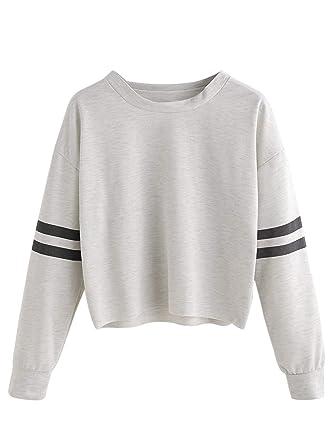 8790e45381 SheIn White Round Neck Crop Top For Women: Amazon.ae