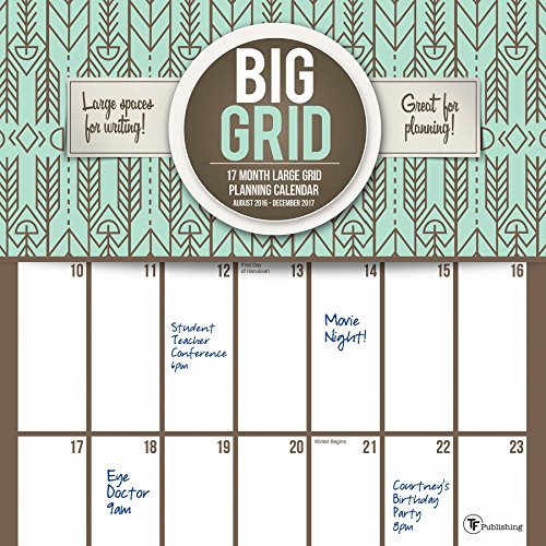 TF Publishing Big Grid Design 2017 Wall Calendar