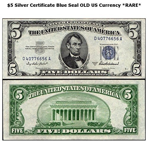 1953 Various Mint Marks 5 Blue Seal Silver Certificate Series Old Real US Currency *RARE* 5 Very (Silver Certificate Series)