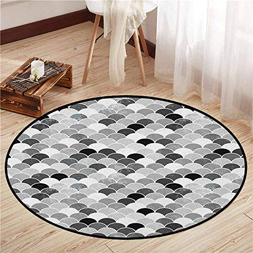Area Round Rugs,Fish,Squama Design with Aquatic Inspirations Animal Skin Scales Pattern Monochrome,Sofa Coffee Table Mat,5'3