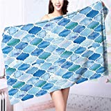 Miki Da Organic Cotton Luxury Bath Towel Oriental Arabic in PaintStyle Islamic Excellent Water Absorbent Antistatic L55.1 x W27.5 INCH