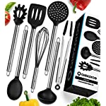 'Cooking Utensils - 7 Piece Stainless Steel and Silicone Cooking Utensil Set - Nonstick Kitchen Utensils. Enjoy Today the Safeness for Your Pans and Pots & Comfort for Yourself' from the web at 'https://images-na.ssl-images-amazon.com/images/I/61Yg6lzDHCL._AC_SR150,150_.jpg'