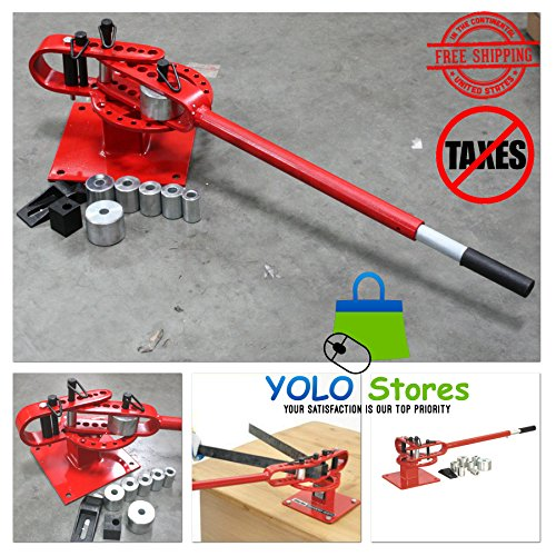 "Pipe Bender Dies Hand Tool Tube Metal Manual Bench Rod 1"" to 3"" with 7 Dies Manual Press Heavy Duty By YOLO Stores"