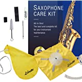 Libretto Alto Saxophone ALL-INCLUSIVE Giftable Care Kit: Mouthpiece Brush + Dust Brush + 2 Microfiber Cleaning Swab + Thumb C