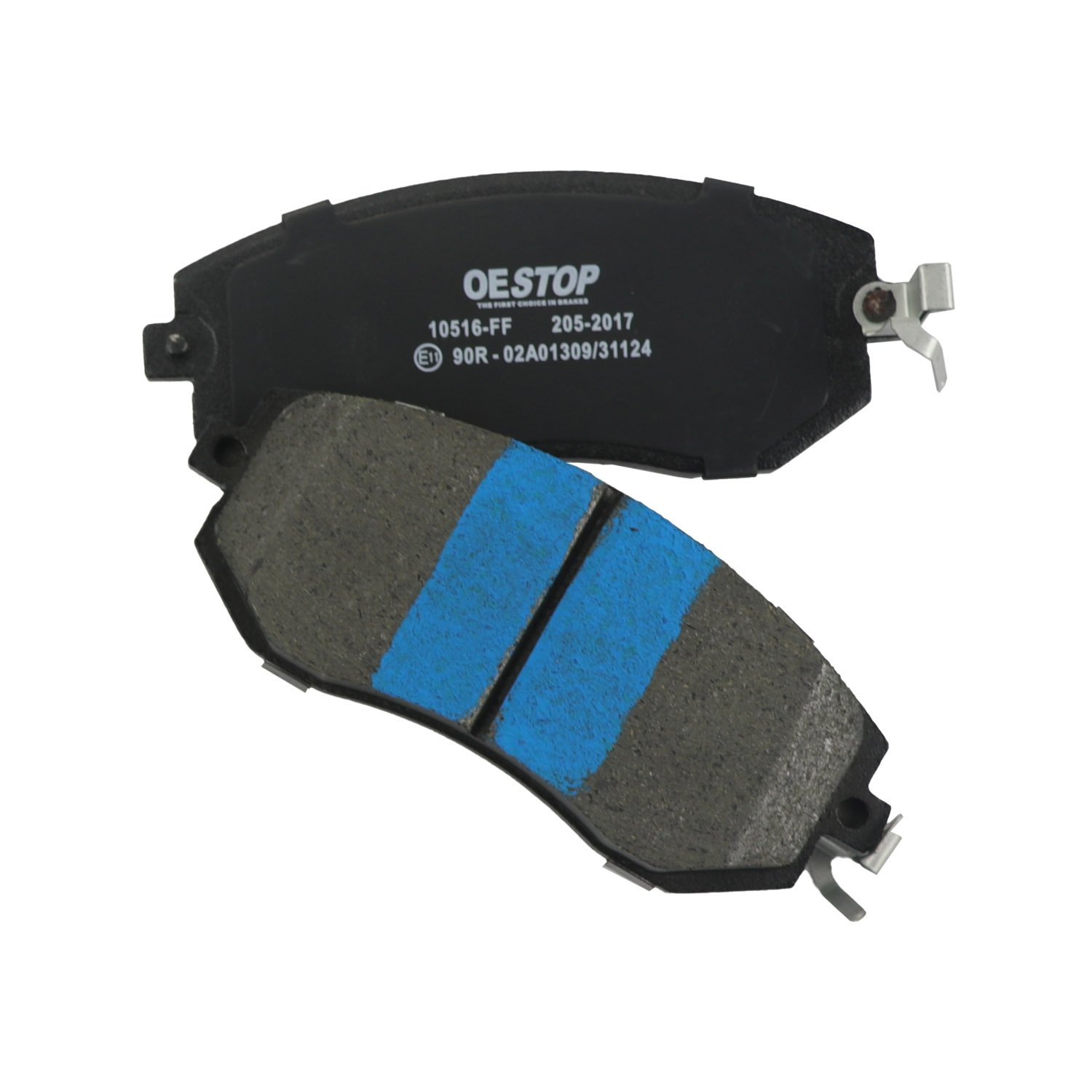 OE STOP OP1539 Ceramic Premium Brake Pad Set With Installation Hardware 1 Pack Front