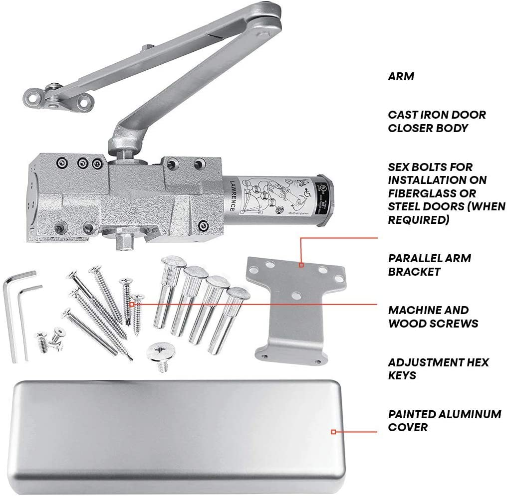 by Lawrence Hardware LH8016 Aluminum Finish Extra Heavy Duty Commercial Door Closer BHMA Grade 1 UL /& ADA Compliant Cast Iron Surface Mounted