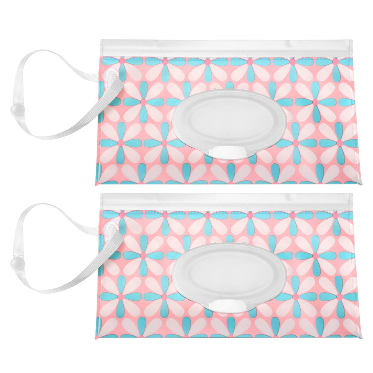 Blue Flowers Artibetter 2pcs Wipe Pouches Reusable Wet Wipe Pouch Flip Top Portable Case Travel Clutch Holder Refillable Baby Wipes Dispenser for Outdoor Office School