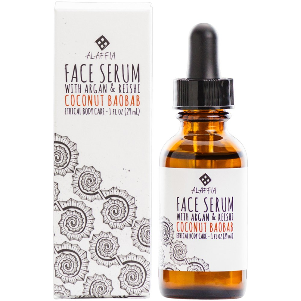 Alaffia - Coconut Reishi Face Serum, Restorative Support to Reduce Wrinkles and Fine Lines with Argan and Baobab Oil, Reishi Mushroom, and Coconut, Fair Trade, 1 Ounce