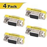 VCE 4-PACK HD15 VGA SVGA Female to Female Mini Gender Changer Coupler Adapter