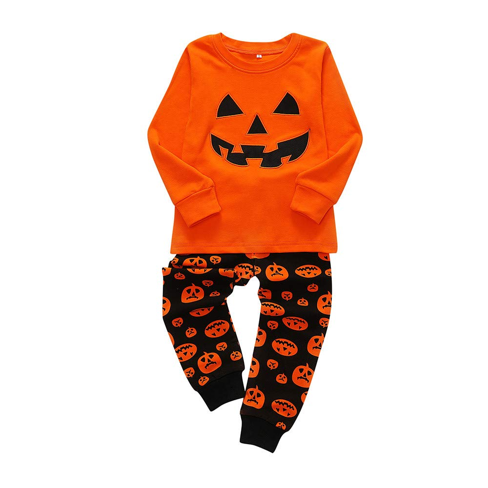 Jchen(TM) 2PCS Halloween Children Kids Boys Girls Pumpkin Print Top+Long Pants 2 PCS Pajama Home Wear Outfits for 1-7 Y (Age: 4-5 Y)
