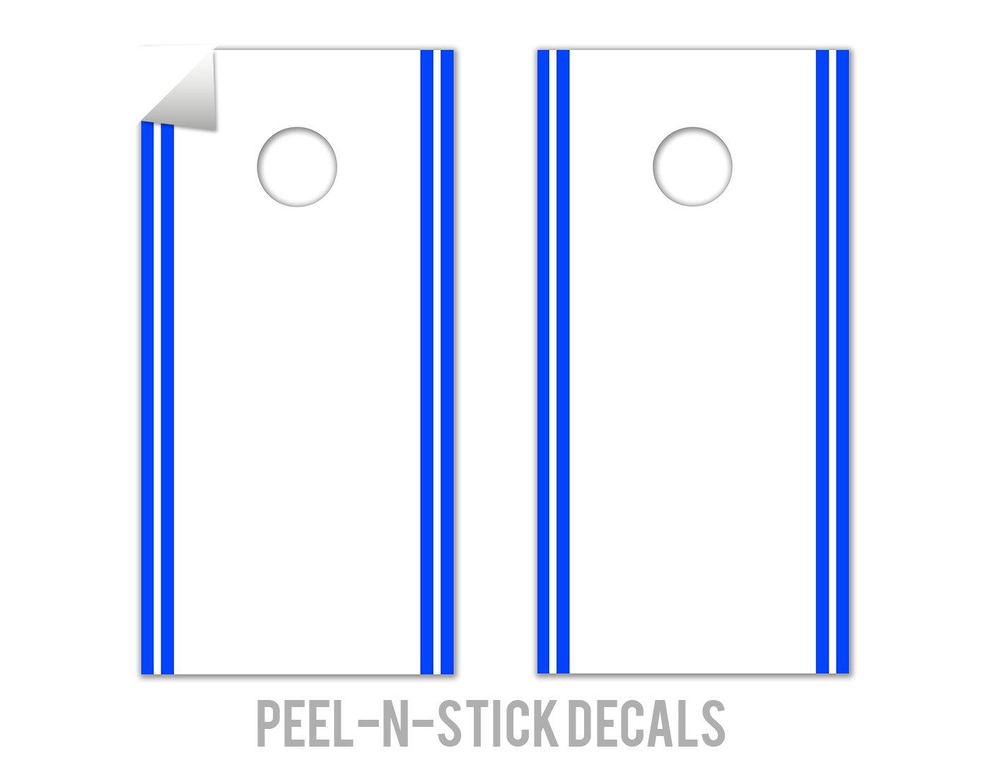 Classic Stripe Edge - White, Blue - Cornhole Crew - ACA Regulation Size Cornhole Board Decals