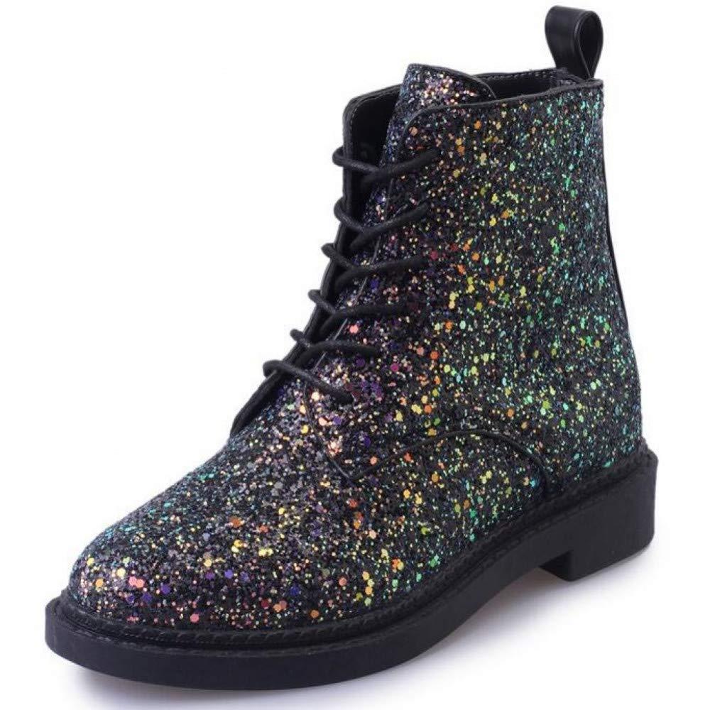 PINGXIANNV Frauen Stiefeletten Heels Weibliche Schuhe Frau Herbst Glitter Schnürstiefel Casual Martin Stiefel