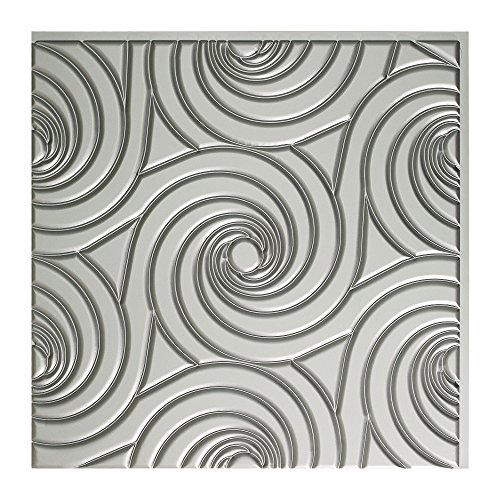 Fasade Easy Installation Typhoon Argent Silver Glue Up Ceiling Tile / Ceiling Panel (2' x 2' Tile) ()