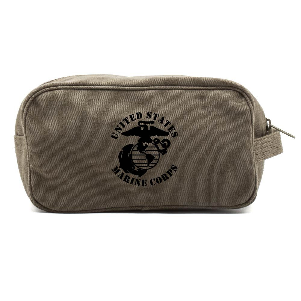 United States Marine Corps Canvas Shower Kit Travel Toiletry Bag Case in Olive & Black