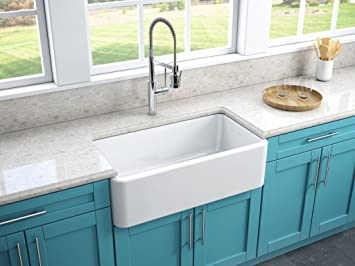 Latoscana 33u0026quot; Reversible Fireclay Farmhouse Sink LFS3318W With  Matching Grid