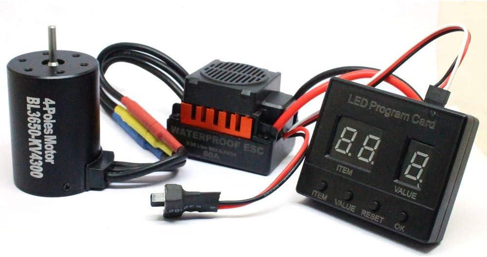 Zhaowei BL3650 4300KV Brushless Motor+Waterproof 60A Brushless ESC+LED Program Card Combo for 1/10 RC Car (Black)