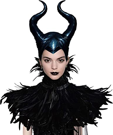 Women Maleficent Costume Feather Cape Shawl with Horns Set Black