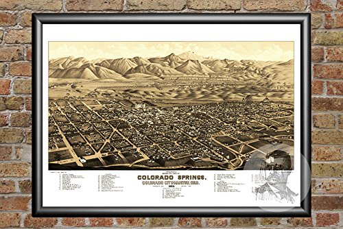 Ted's Vintage Art Colorado Springs 1882 Map Wall Art Print | Museum Quality Matte Paper | Ideal for Home & Office Decor | Digitally Restored Historic Lithograph Poster - 18
