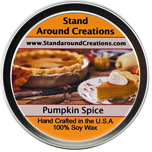 Premium 100% All Natural Soy Wax Aromatherapy Candle - 6 oz Tin Pumpkin Spice: A true-to-life fragrance bursting with fresh pumpkin. Mouthwatering notes of butter, sugar, and spices complete this irresistible bakery fragrance. by Stand Around Creations
