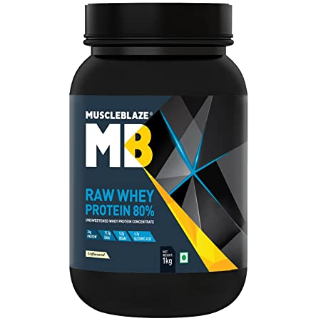 MuscleBlaze Raw Whey Protein - 2.2 lb/ 1 kg, 33 Servings (Unflavoured) <span at amazon