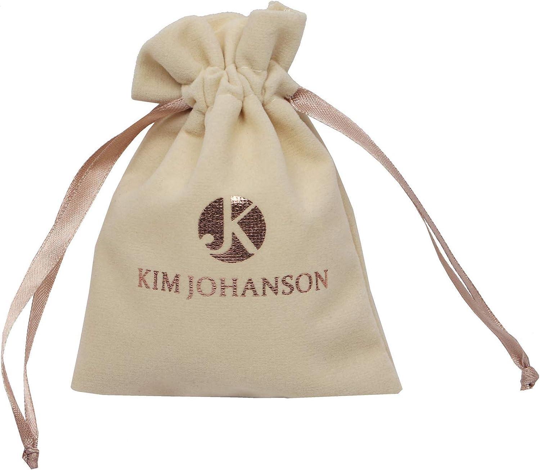 Kim Johanson Parure de Bijoux pour Femme en Acier Inoxydable avec Pendentif et Boucles doreilles en Or Rose avec Pierres de Zirconium et Pochette /à Bijoux