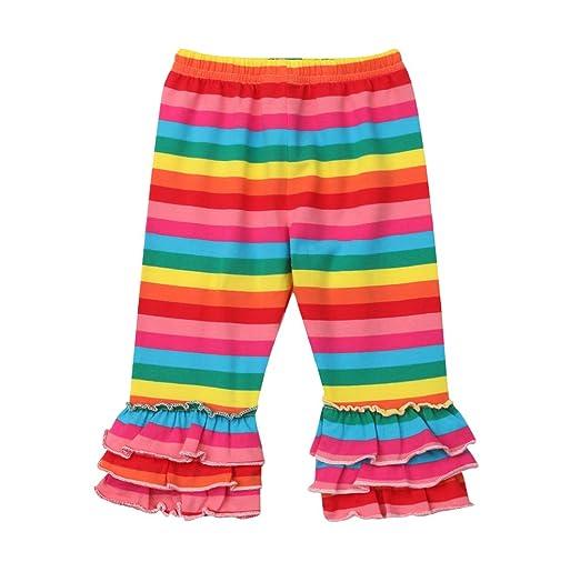 133264dfd14b0c Toddler Kids Baby Girl Rainbow Mermaid Ruffle Bottom Pants Leggings Striped  Fish Scale Icing Flower Trousers