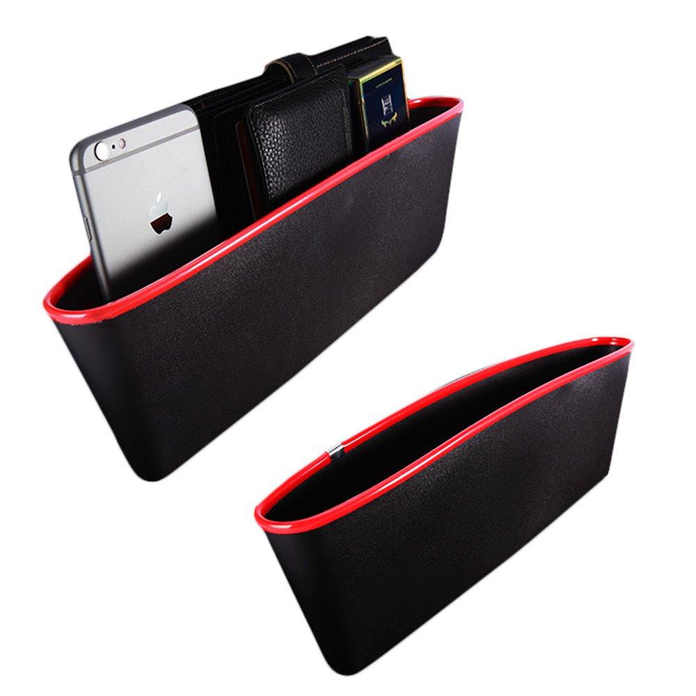 2/pi/èces Poche lat/érale de si/ège de voiture couleur noir et bordure rouge forme extensible KT Supply