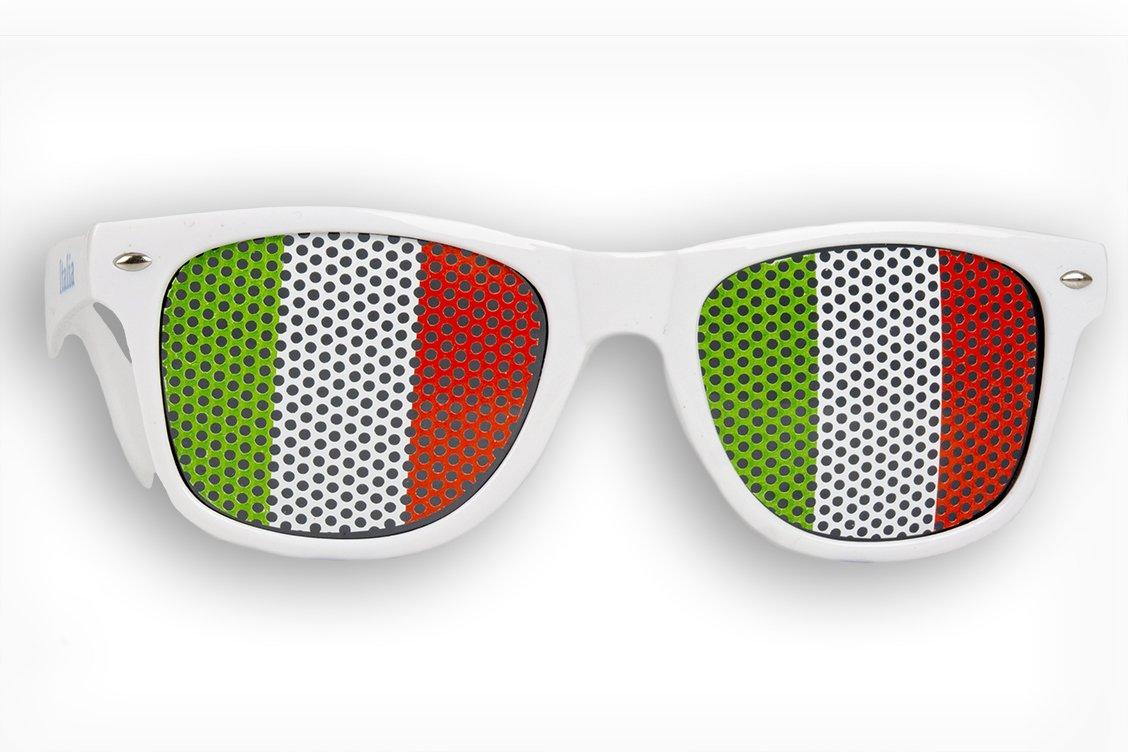 Italy 1 x Fanbrille Italien Brille Italia Italia Wei/ß Fan Artikel Sonnenbrille